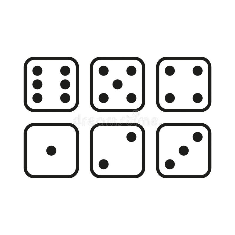 Set biali kostka do gry ilustracji