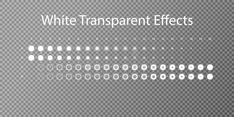 Set biali przejrzyści skutki Kroka cień Wektorowy cienia skutek Ustawia EPS 10 ilustracji