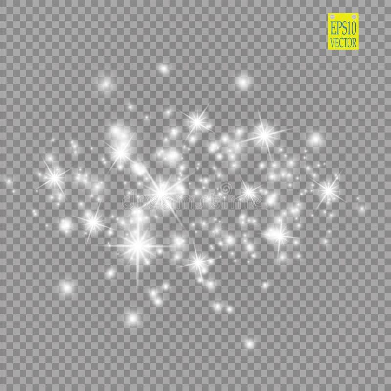 Set biali rozjarzeni światło skutki odizolowywający na przejrzystym tle Słońce błysk z promieniami i światłem reflektorów Jarzeni ilustracja wektor