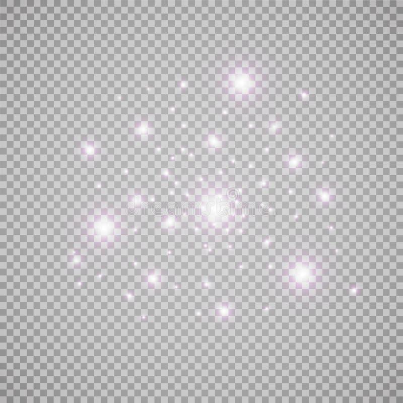 Set biali rozjarzeni światło skutki odizolowywający na przejrzystym tle Słońce błysk z promieniami i światłem reflektorów Jarzeni royalty ilustracja