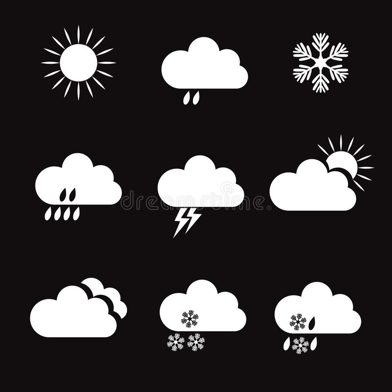 Set Biali wektor pogody elementy i ikony royalty ilustracja