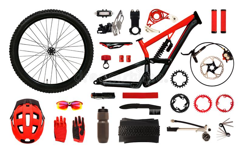 Set of bicycle accessories and equipment isolated royalty free stock photography