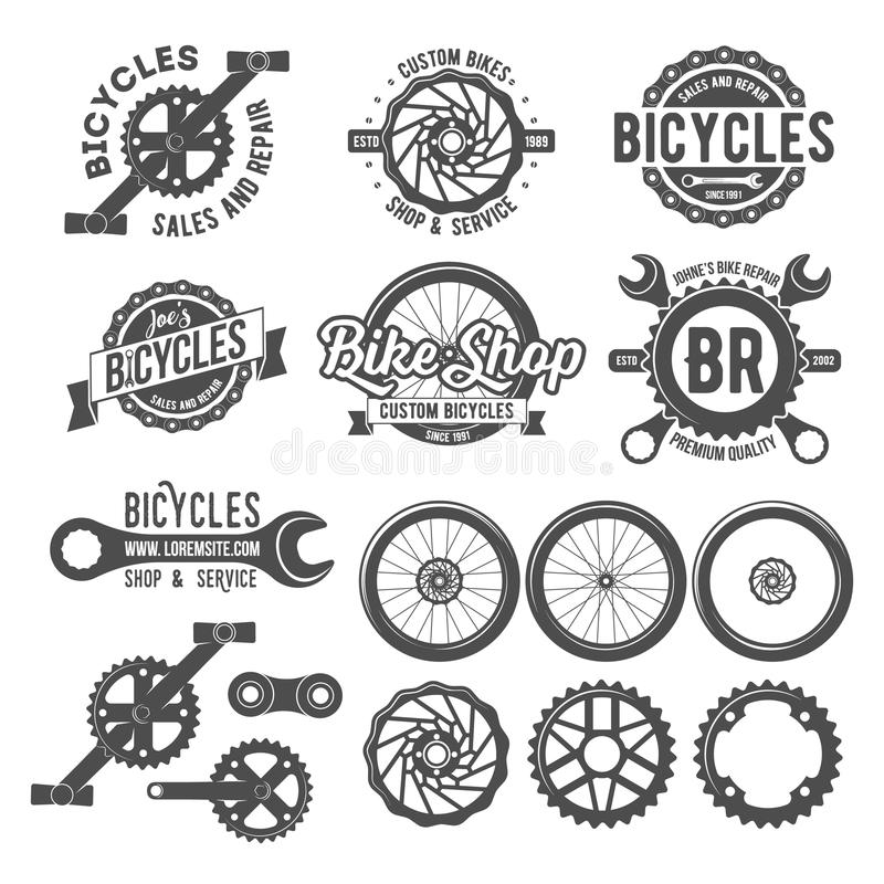 Set of bicycle badges stock images