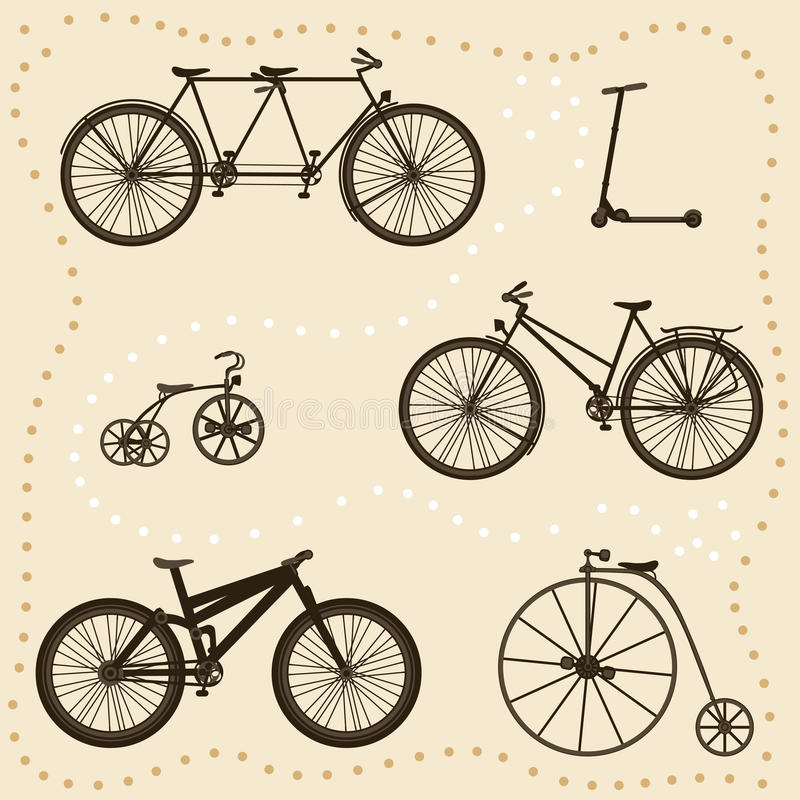 Set of Bicycle Silhouettes