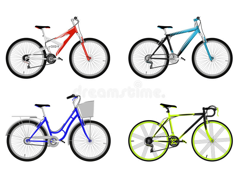 Set of bicycles royalty free stock photo