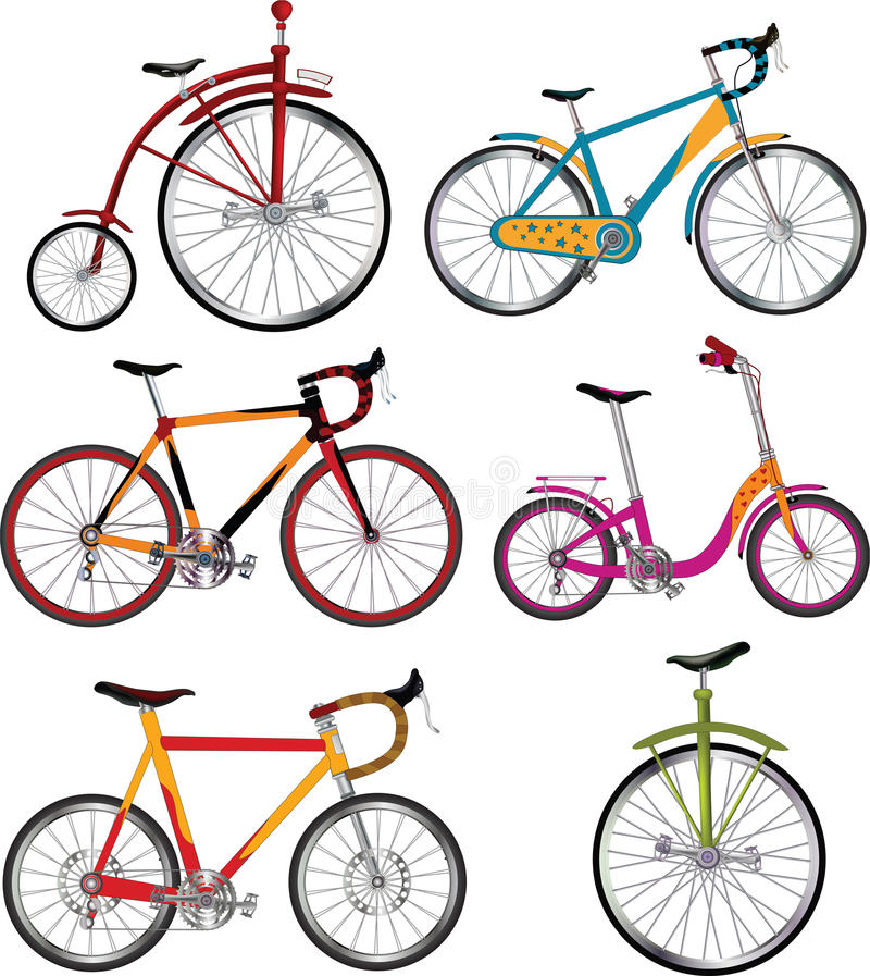 Set of bicycles stock illustration
