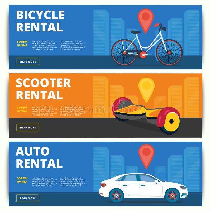 Set bicyklu, gyroscooter i samochodu sieci sztandarów do wynajęcia projekt, ilustracja wektor