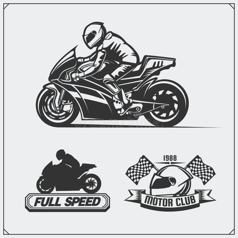 Set bieżni motocykli/lów emblematy, odznaki, etykietki i projektów elementy, royalty ilustracja