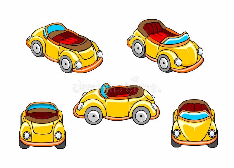 Set bieżny samochód różnorodni kąty kreskówki dowódcy pistolet żołnierza jego ilustracyjny stopwatch ilustracja wektor