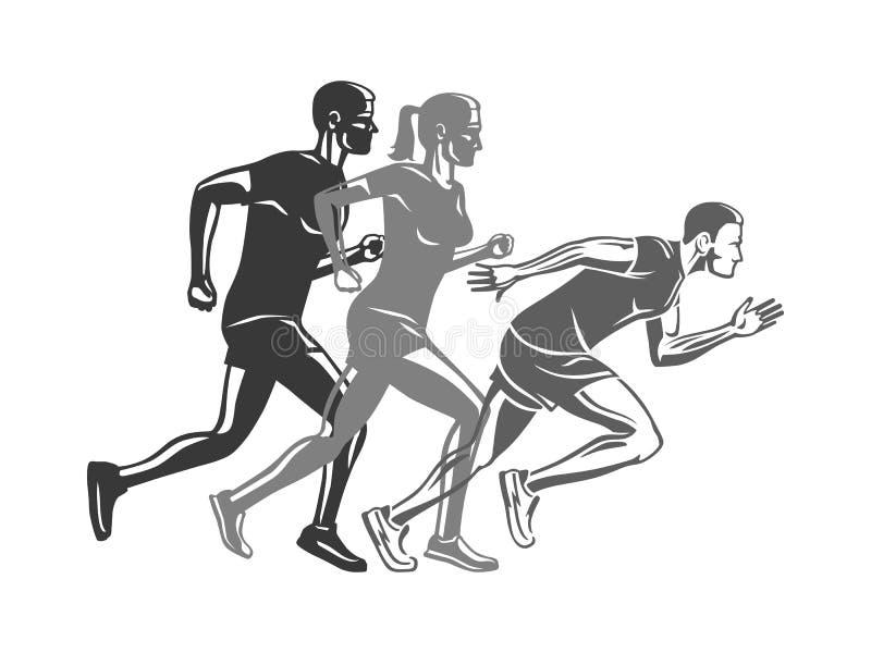 Set biegacz sylwetki Logo dla sport firmy royalty ilustracja