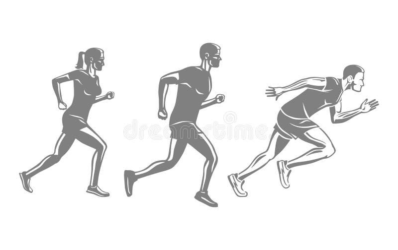 Set biegacz sylwetki Mężczyzna i kobieta bieg rasa royalty ilustracja