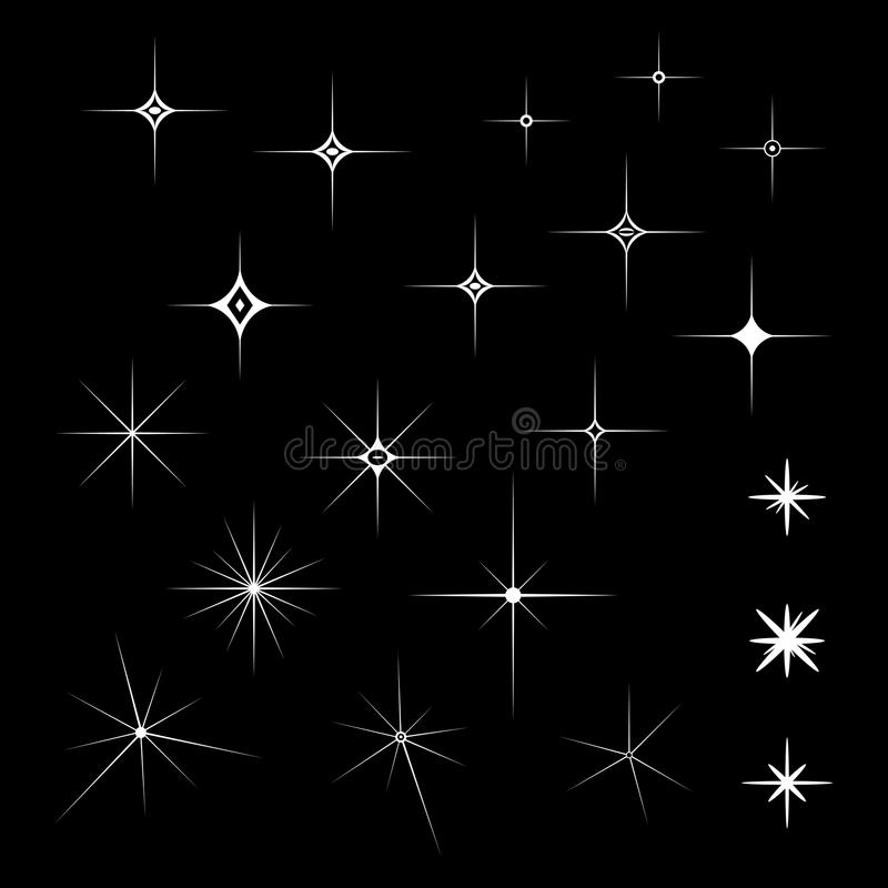 Set biel Błyska na odosobnionym czarnym tle ilustracji