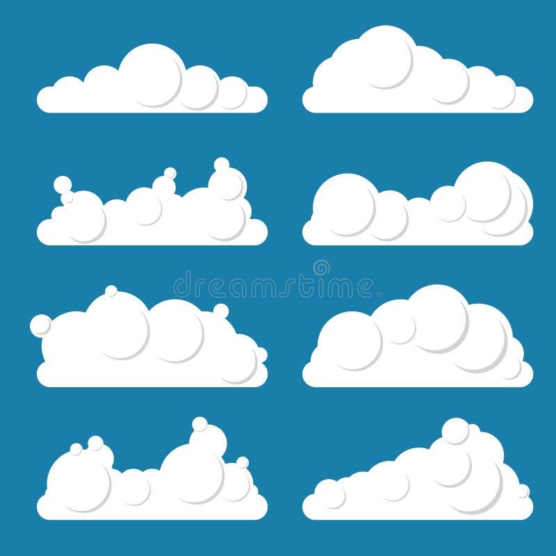 Set biel chmurnieje na błękitnym tle Mieszkanie styl, różnorodny sh royalty ilustracja