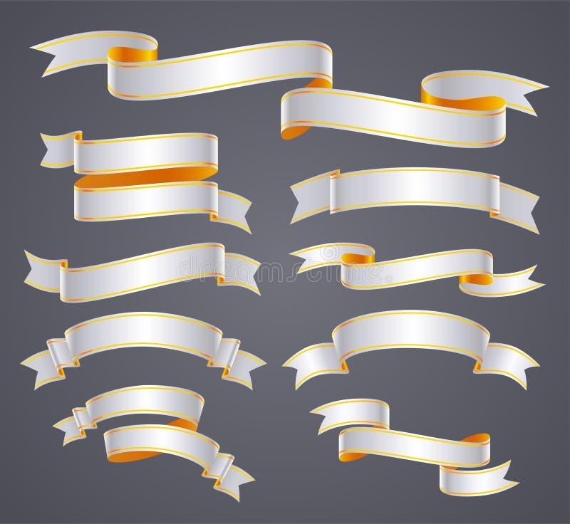 Set biel wyginający się sztandar lub faborek ilustracja wektor