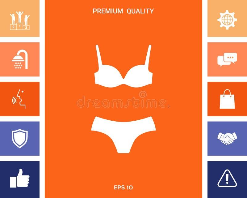 Set bielizna lub swimsuit, dwuczęściowy bikini sylwetka Menu rzecz w sieć projekcie ilustracji