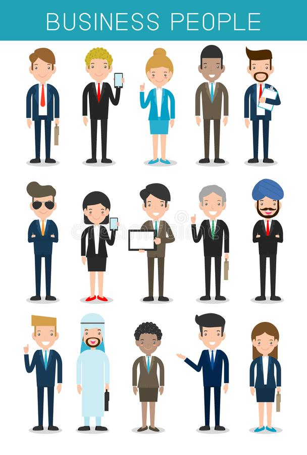 Set of big business People Group Diverse Team, Business team of employees and the boss stock illustration