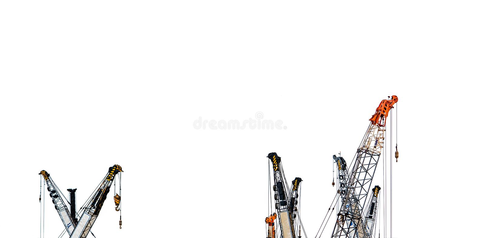 Set of big construction crane for heavy lifting isolated on white background. Construction industry. crane for container lift stock images