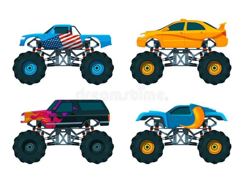 Set big monster truck cars. Vector pictures set. Of auto monster, large 4x4 transport, off-road automobile illustration stock illustration