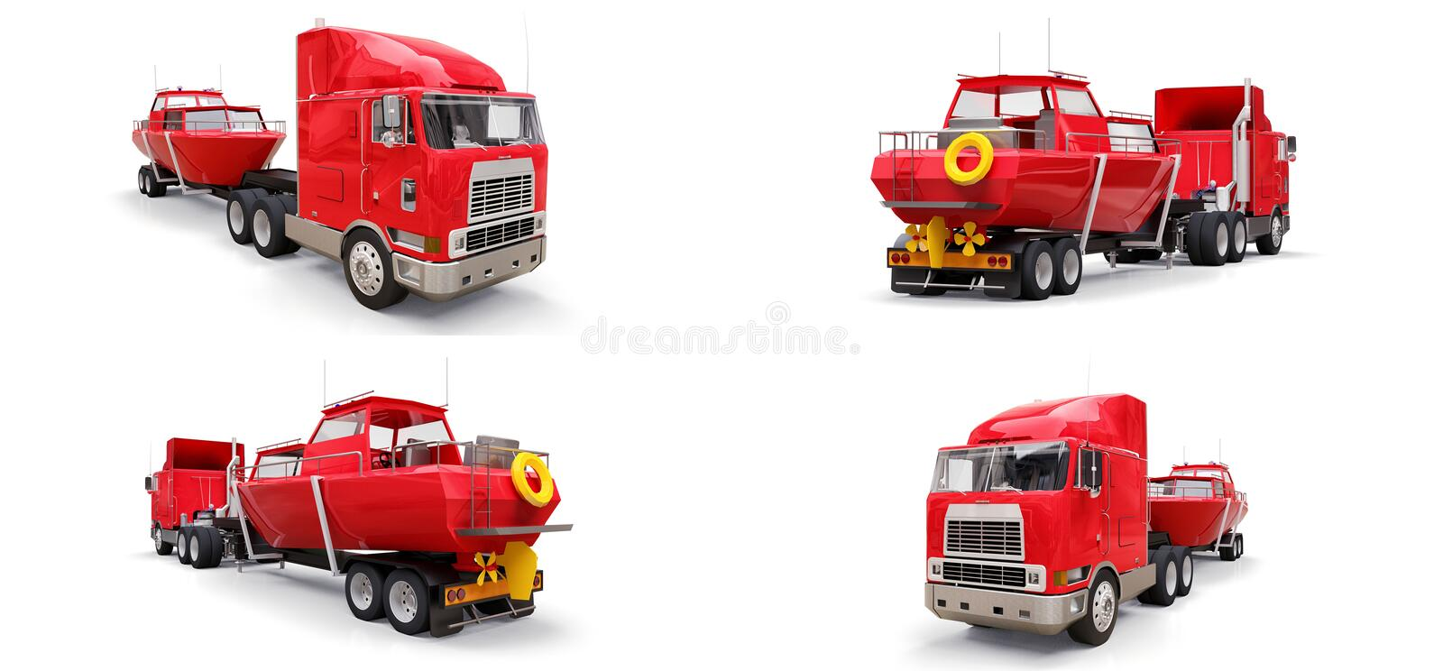 Set big red truck with a trailer for transporting a boat on a white background. 3d rendering. Set big red truck with a trailer for transporting a boat on a royalty free illustration