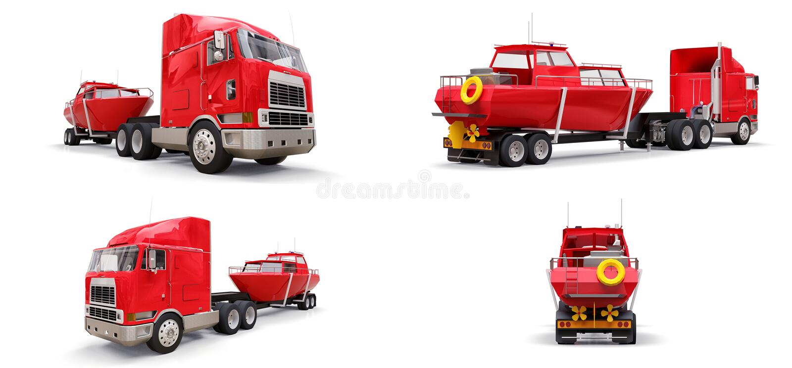 Set big red truck with a trailer for transporting a boat on a white background. 3d rendering. Set big red truck with a trailer for transporting a boat on a stock illustration