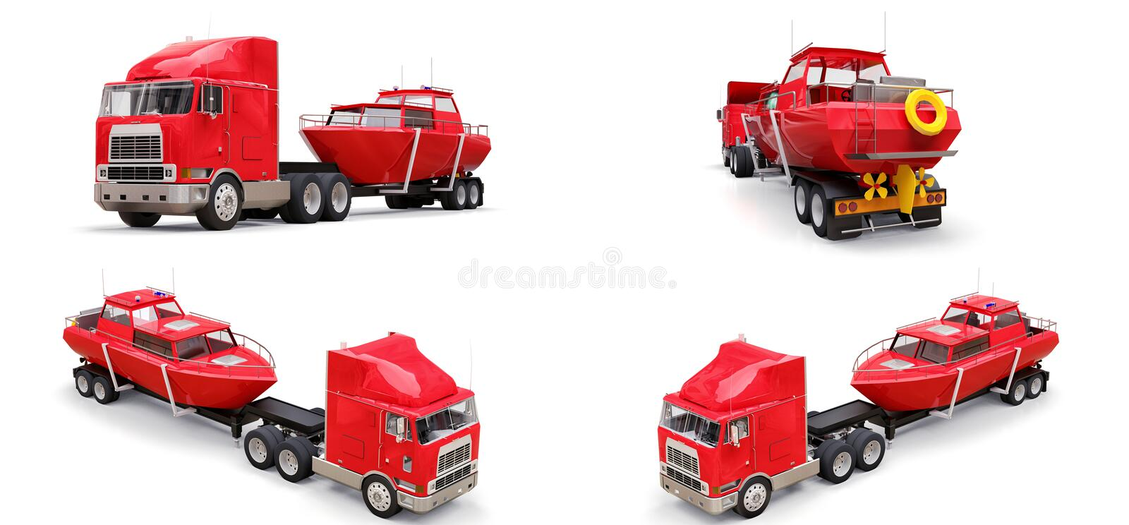 Set big red truck with a trailer for transporting a boat on a white background. 3d rendering. Set big red truck with a trailer for transporting a boat on a vector illustration