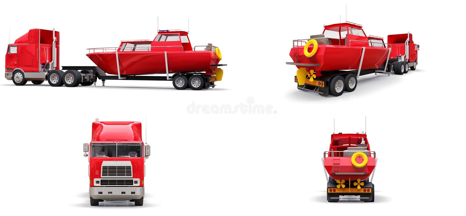 Set big red truck with a trailer for transporting a boat on a white background. 3d rendering. vector illustration