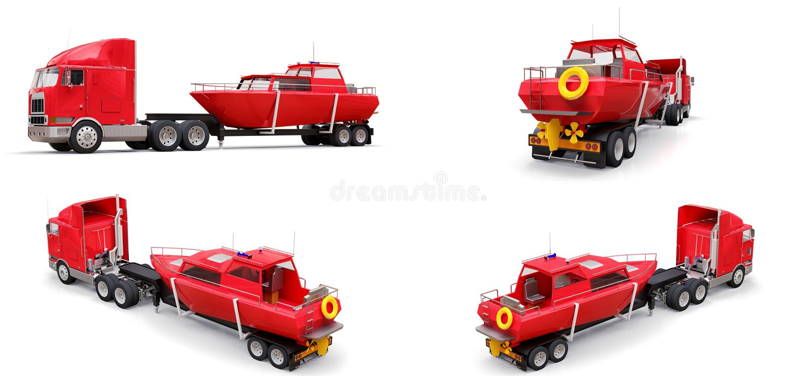 Set big red truck with a trailer for transporting a boat on a white background. 3d rendering. royalty free illustration
