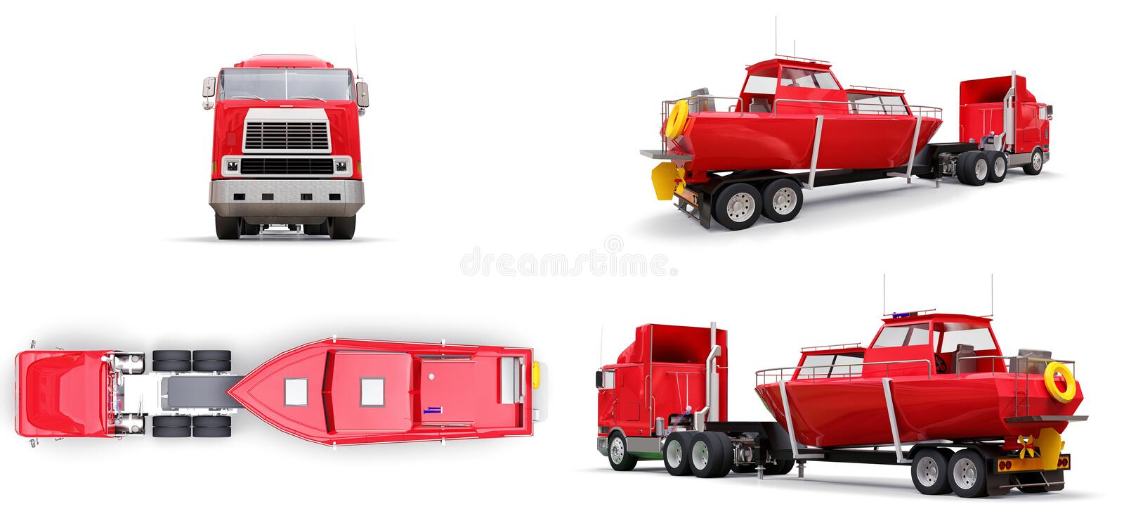Set big red truck with a trailer for transporting a boat on a white background. 3d rendering. stock illustration