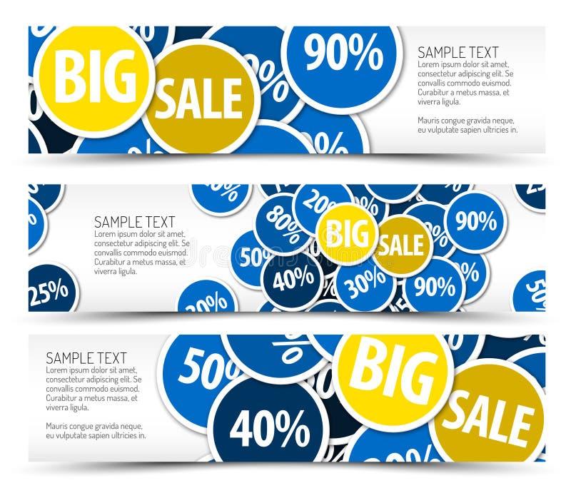 Set of big sale horizontal banners royalty free illustration