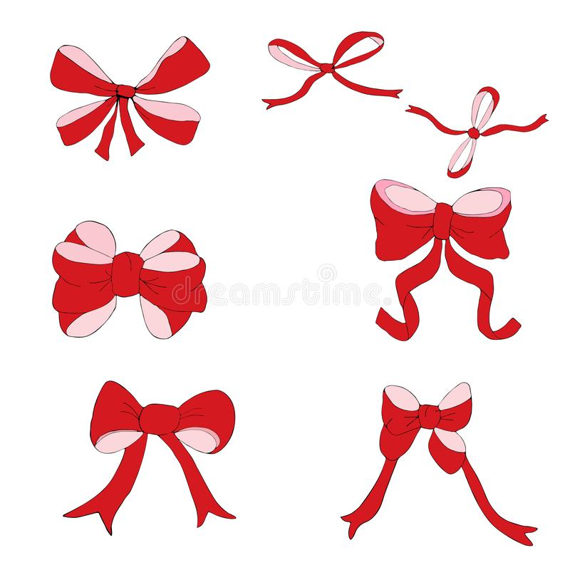 Set of big and small red bows for a festive decoration vector illustration
