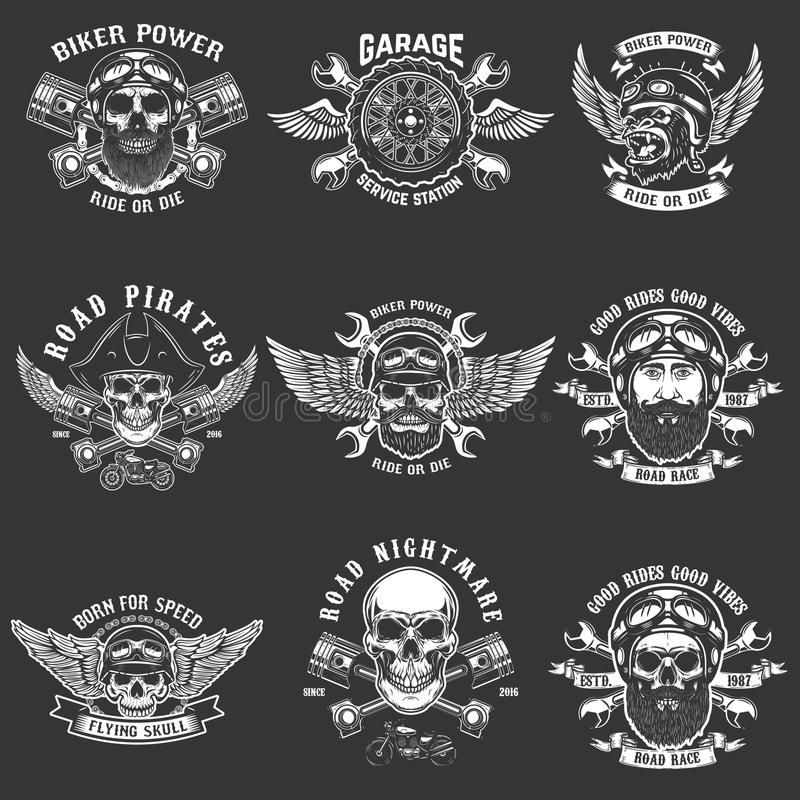 Set of biker club emblem templates. Vintage motorcycle labels. Design element for logo, label, emblem, sign. royalty free illustration