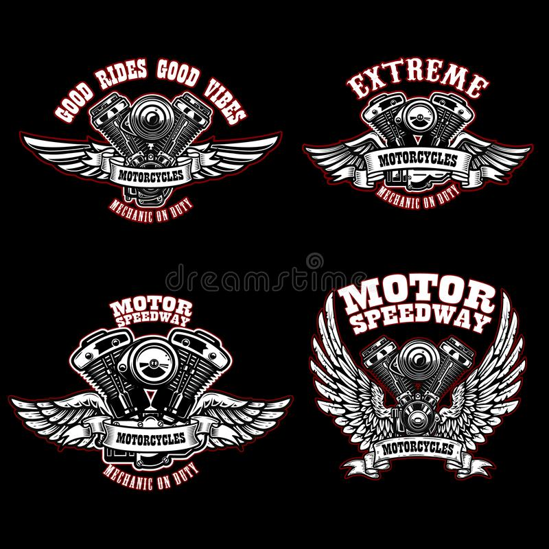 Set of biker emblem templates with winged motorcycle engines. Design element for logo, label, emblem, sign, poster, t shirt vector illustration