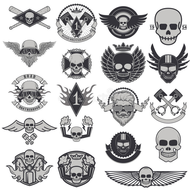 Set of biker labels and emblems royalty free illustration
