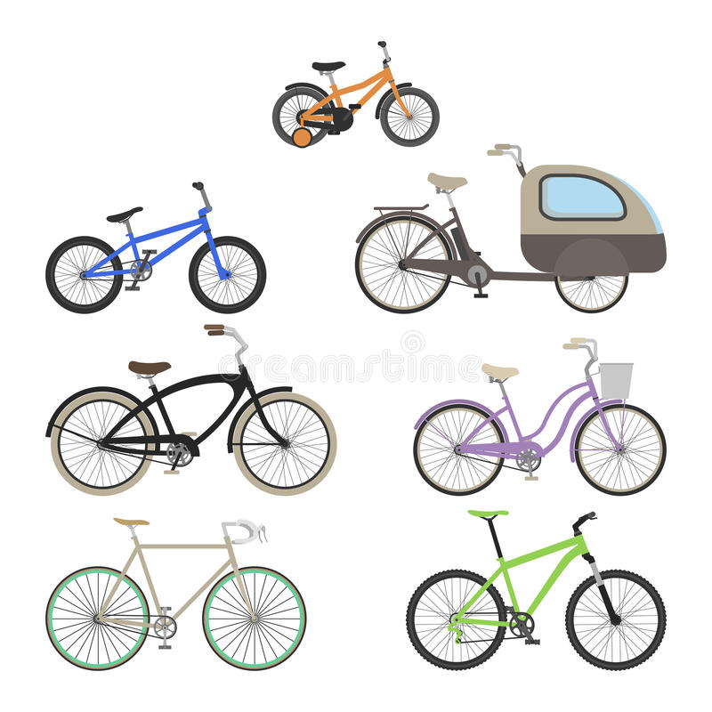 Set of bikes in a flat style. Vector illustration on white background royalty free illustration