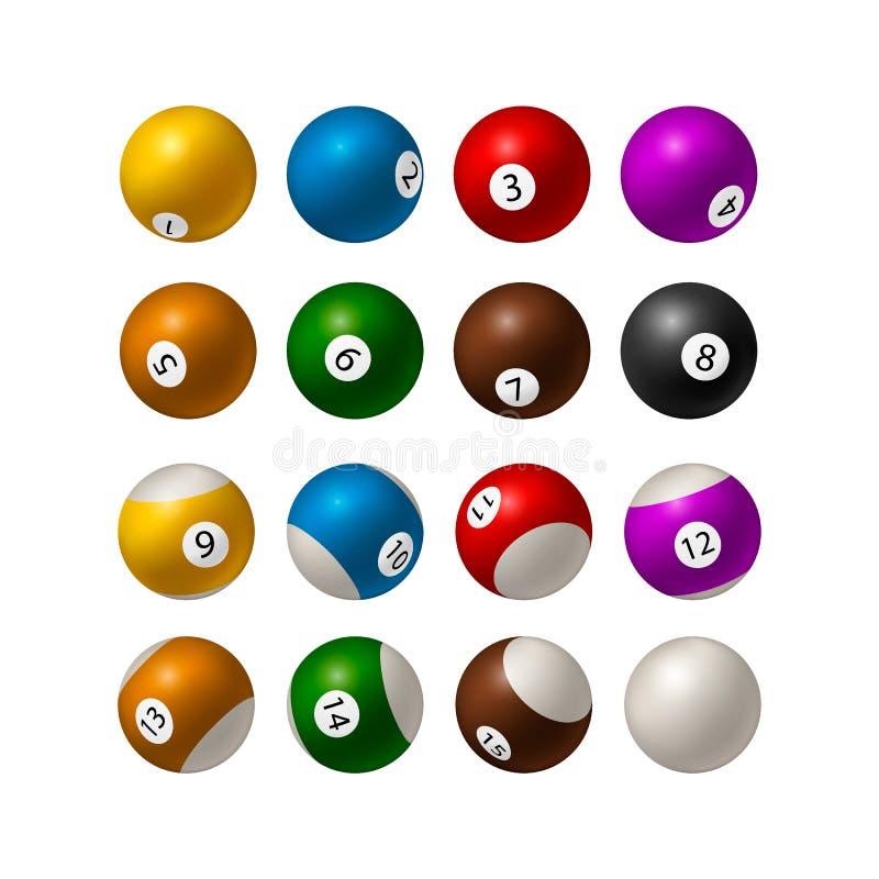 Set Bilardowe piłki odizolowywać na białym tle wektor ilustracja wektor