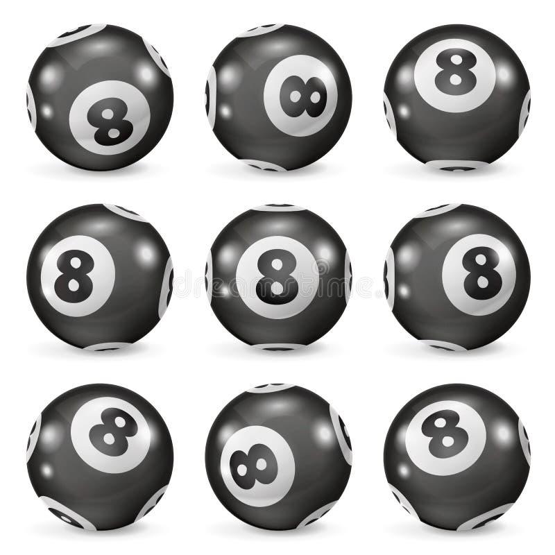 Set bilardowych piłek eights od różnych kątów royalty ilustracja