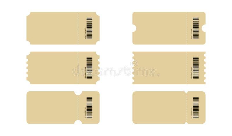 Set bilet Szablonów bilety Kolekcja rocznika grunge talonów i biletów wektor ilustracje ilustracja wektor