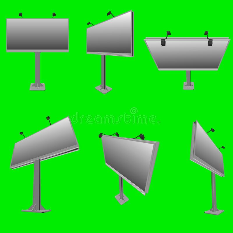 Set with billboards in different positions. Street advertising billboards. 3D. Vector illustration royalty free illustration