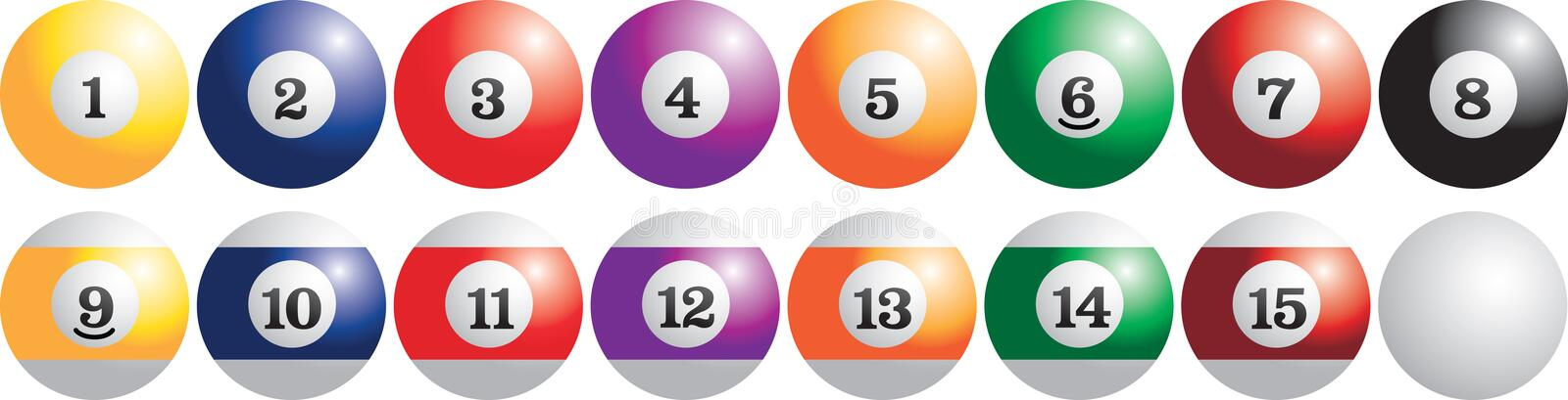 Set of billiard balls. Full set of billiard balls royalty free illustration
