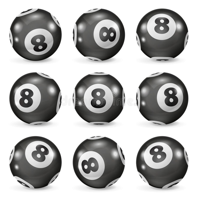 Set of billiard balls eights from different angles royalty free illustration