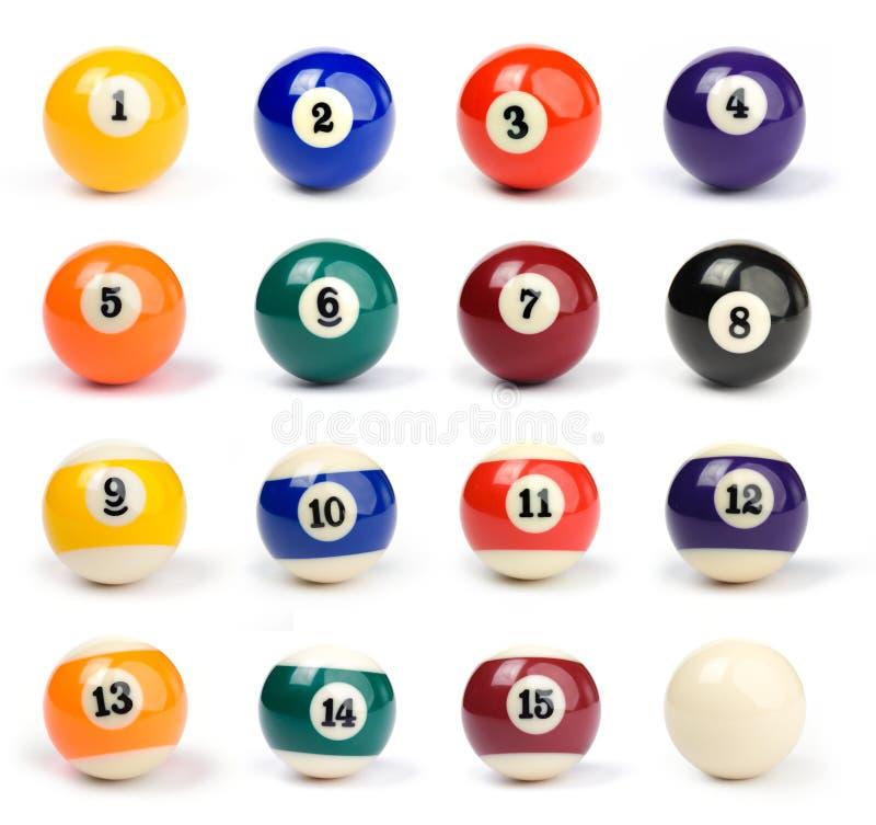 Billiard balls. Set of billiard balls on a white background stock image