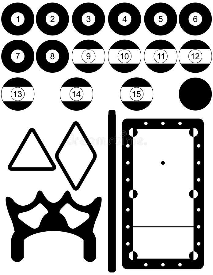 Set Billiard-Schattenbilder lizenzfreie abbildung