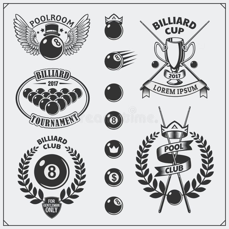 Set billiards etykietki, emblematy, odznaki, ikony i projektów elementy, royalty ilustracja