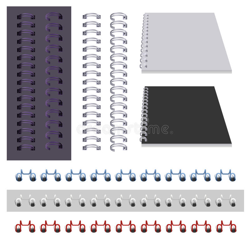 Set binder spring on white. Vector illustration stock illustration
