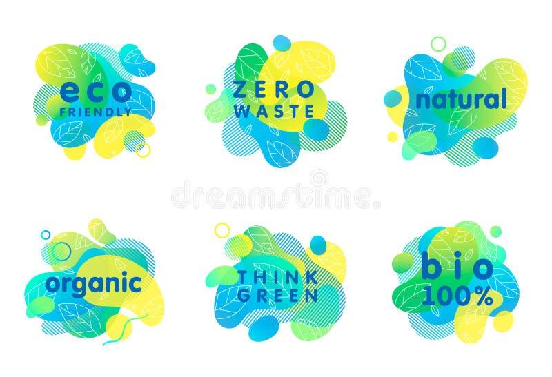 Set of bio,eco,organic,natural stickers and logos stock photos