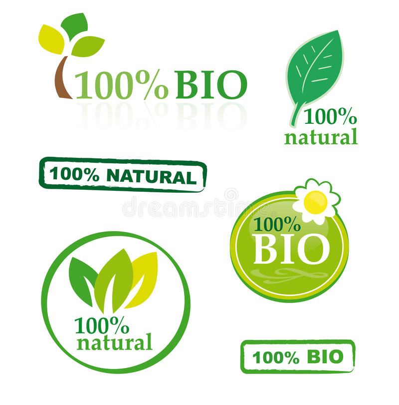 Set of bio elements. A collection of bio/natural elements with 100 per cent guarantee isolated on white vector illustration