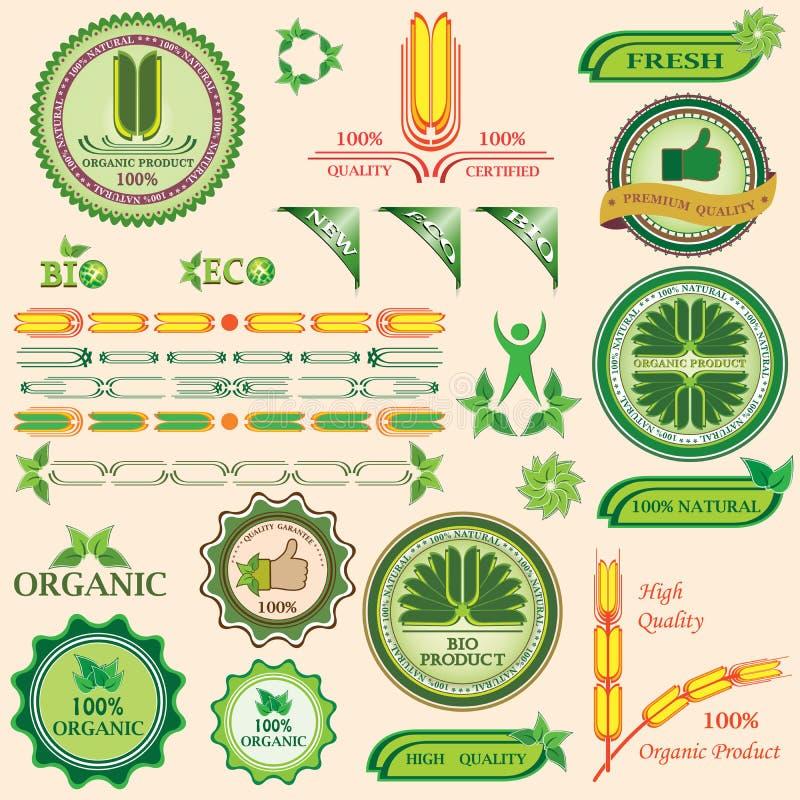 Set Bio- und organische Abzeichen und Kennsätze stock abbildung