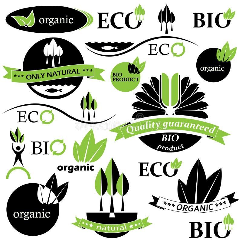 Set Bio- und organische Abzeichen und Kennsätze. vektor abbildung