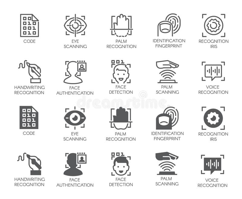 Set of biometric buttons. 10 icons in linear and glyph designs. Authorization, identification and verification symbols. Fingerprint recognition, eye and palm vector illustration
