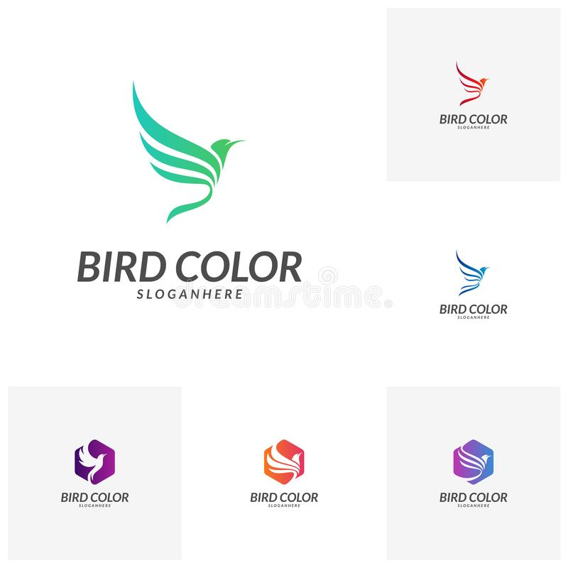 Set of Bird logo vector. Flying Bird Logo design vector template. Dove Pigeon Logotype concept icon. Flying Bird Logo design vector template. Dove Pigeon stock illustration